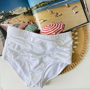 NWT Swimsuits for All Shirred White Brief Bottom
